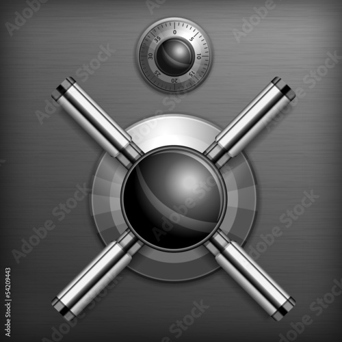 Safe combination lock wheel background, vector illustration