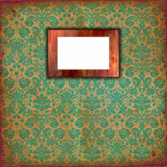 Damask wallpaper with wooden frame