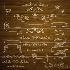 Vector Vintage Design Elements on a Wooden Background