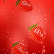 Vector Illustration of a Strawberry Falling in Liquid