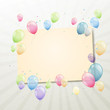 Vector Illustration of a Greeting Card with Colorful Balloons