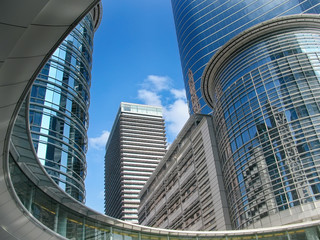 Skyscrapers against blue sky in downtown of Houston, Texas