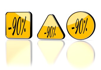 3d render of a element discount symbol on three warning signs