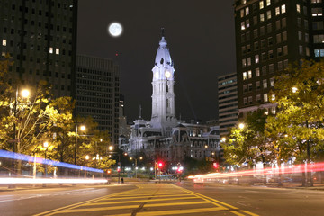 The Philadelphia City Hall building at night