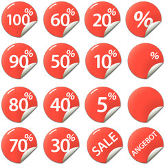Rabatt Buttons, Sticker: Prozente