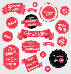 Set of Premium Vector Stickers and Ribbons