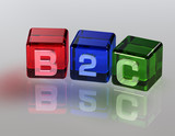 B2C Cube Glas poster