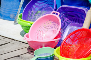 Household bright plastic equipments sold at market