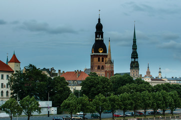 Riga (Latvia) Old Town in the evening. View from Daugava river