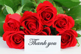 Thank you card with red roses bouquet
