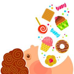 cartoon boy eating lots of sweets
