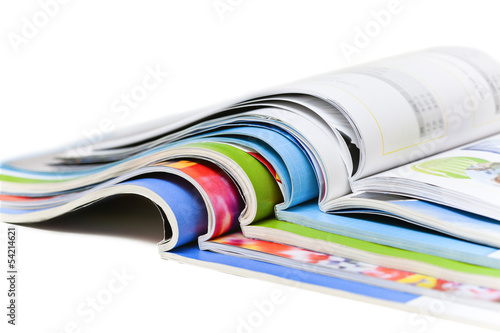 canvas print picture Color magazines isolated on the white background