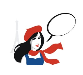 French girl portrait with  speech bubble