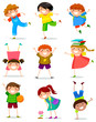 happy kids in different posotions