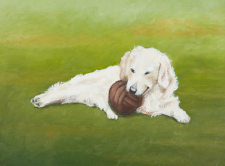 Painting of a white dog