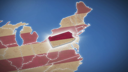 USA map, Pennsylvania pull out, all states available
