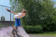 Roller skater speeding down a ramp