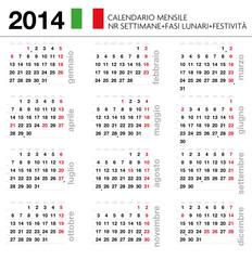 Calendario 2014 ITA mensile festività+settimane+lune