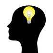silhouette of a man with a head lamp. vector