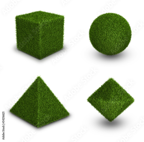 Green grass abstract shape figures