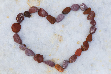 Red and romatic stones heart