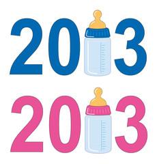 Geburtsanzeige 2013 mit Babayflasche für Jungen u. Mädchen