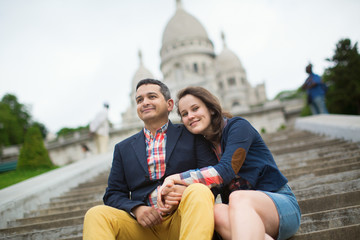 Tourists near the Sacre-Coeur in Paris