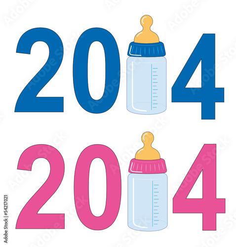 Geburtsanzeige 2014 mit Babayflasche für Jungen u. Mädchen