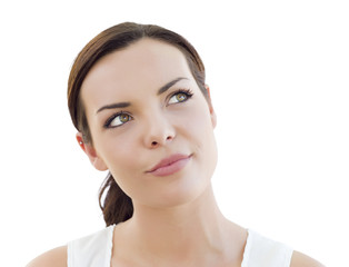 Pensive Young Adult Woman Looking Up on White