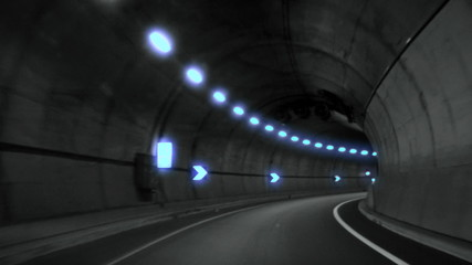 Driving in highway, abstract with motion blur and glow