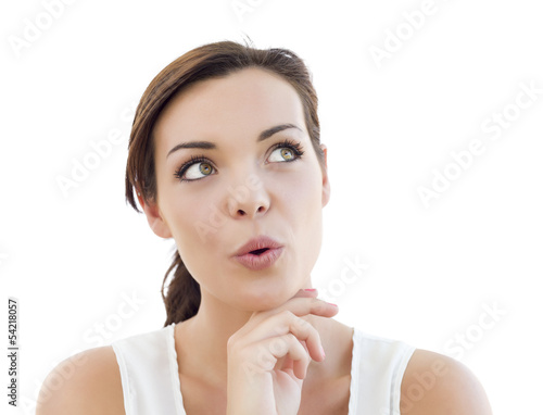 Surprised Young Adult Woman Looking Up on White