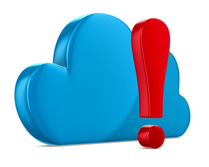 Cloud and exclamation on white background. Isolated 3D image