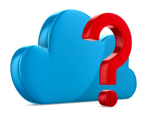 Cloud and question on white background. Isolated 3D image