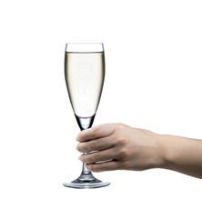 Hand hält Sektglas