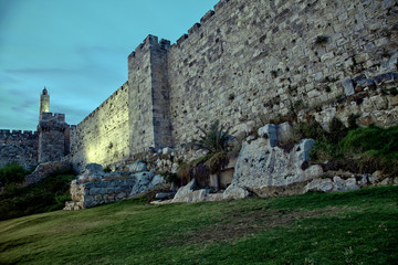 Tower of David and Old Jerusalem City Wall at Dusk
