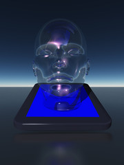 Tablet with human head