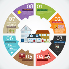 Vector circle house concepts with icons infographics