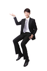 business man sitting on some thing and show copy space