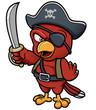Vector illustration of Cartoon Pirate Parrot