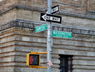 Washington square -  Thompson Street. One way.