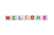Letter Cubes Stating Welcome
