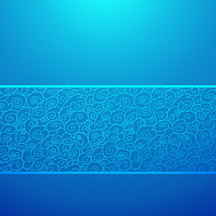 Blue wave horizontal ornamental background. Vector illustration
