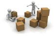 3d men with carton box