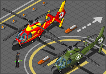 Isometric Emergency and Military Helicopters in Front View