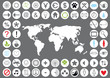 set of modern web icons and world map, vector
