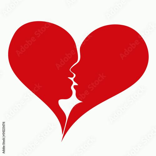 serce i pocałunek