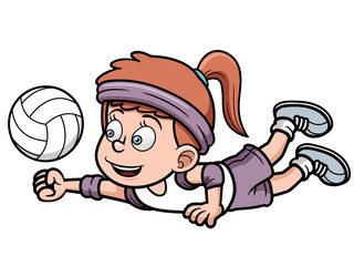 Vector illustration of Young volleyball player
