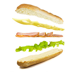 sandwich ingredients on white background