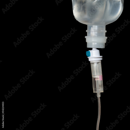 Infusion bottle with IV solution to help patient