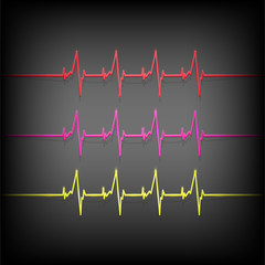 Colorful heartbeat medical elements - vector illustration